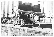 """3/4 detail view of """"B"""" end of D&RGW high-side gondola #1504 loaded with bridge timbers.<br /> D&RGW    <br /> See RD060-022 for a full view of the car."""