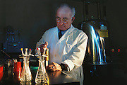 Pherin Pharmaceutical in Mountain View, California. Vomero nasal organ research. George Detre prepares drug for NMR spectroscopy. (pheromones). MODEL RELEASED (2002)