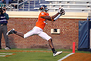 Oct 23, 2010; Charlottesville, VA, USA;  Virginia Cavaliers wide receiver Dontrelle Inman (81) has this pass called back during the 1st half of the game against the Eastern Michigan Eagles at Scott Stadium.  Mandatory Credit: Andrew Shurtleff