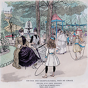 A corner of the Champs Elysees, Paris. Cartoon from 'Paris Brillant', c1890, by 'Mars'.