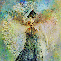 Woman with ephemeral wings shielding her face. Photo based illustration.