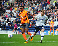 Preston North End's Tom Barkhuizen is tackled by Reading's Liam Moore<br /> <br /> Photographer Kevin Barnes/CameraSport<br /> <br /> The EFL Sky Bet Championship - Preston North End v Reading - Saturday 19th August 2017 - Deepdale Stadium - Preston<br /> <br /> World Copyright © 2017 CameraSport. All rights reserved. 43 Linden Ave. Countesthorpe. Leicester. England. LE8 5PG - Tel: +44 (0) 116 277 4147 - admin@camerasport.com - www.camerasport.com