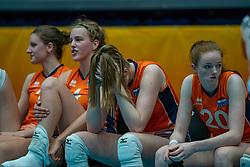 Hyke Lyklema of Netherlands, Jolien Knollema of Netherlands, Britte Stuut of Netherlands, Rixt van der Wal of Netherlands after semi final Netherlands - Serbia, FIVB U20 Women's World Championship on July 17, 2021 in Rotterdam