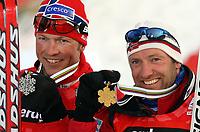 Langrenn<br /> VM 2007 Sapporo<br /> Foto: imago/Digitalsport<br /> NORWAY ONLY<br /> <br /> 04.03.2007 <br /> 50 km herrer<br /> <br /> Vizeweltmeister Frode Estil (li.) und Weltmeister Odd Bjørn Hjelmeset (beide Norwegen)