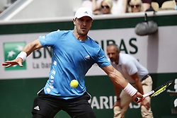 May 27, 2019 - Paris, France - Mischa Zverev of Germany plays a backhand during his mens singles first round match against Richard Gasquet of France during Day two of the 2019 French Open at Roland Garros on May 27, 2019 in Paris, France. (Credit Image: © Ibrahim Ezzat/NurPhoto via ZUMA Press)