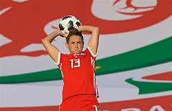 NEWPORT, WALES - Tuesday, June 12, 2018: Wales' Rachel Rowe takes a throw-in during the FIFA Women's World Cup 2019 Qualifying Round Group 1 match between Wales and Russia at Newport Stadium. (Pic by David Rawcliffe/Propaganda)