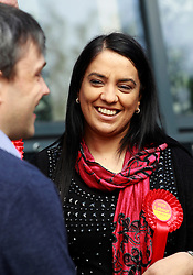 © Licensed to London News Pictures. 20/04/2015, Bradford, West Yorkshire. Labour candidate Naz Shah chatting to voters in the Bradford West constituency. Photo credit : Paul Thompson/LNP