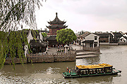 A tourist barge along the grand canal in the Shantang area in Suzhou, China.