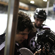 Matt Hatch, Union College, leaves the rink after the first period during the Yale Vs Union College, Men's College Ice Hockey game at Ingalls Rink, New Haven, Connecticut, USA. 28th February 2014. Photo Tim Clayton