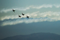 Blue Angels and Exhaust Trails by Cascade Mountains