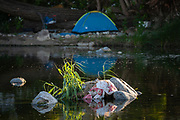 Homeless camp along Los Angeles River, Glendale Narrows, Los Angeles, California, USA