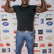 """London,England,UK. 14th May 2017. Adebayo Akinfenwa and nicknamed """"The Beast"""", is an English professional footballer attends the BBL Play-Off Finals also fundraising for Hoops Aid 2017 but also a major fundraising opportunity for the Sports Traider Charity at London's O2 Arena, UK. by See Li"""