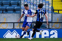 Josh Hare of Bristol Rovers takes on Ollie Rathbone of Rochdale - Mandatory by-line: Robbie Stephenson/JMP - 31/10/2020 - FOOTBALL - Crown Oil Arena - Rochdale, England - Rochdale v Bristol Rovers - Sky Bet League One
