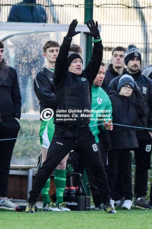 Trim Celtic's manager, Alan Murphy, seems to be trying to keep warm or is he giving instructions   in the Trim Celtic v Avenue Utd FAI Leinster Junior cup game at MDL grounds, Navan .<br /> <br /> Photo: GERRY SHANAHAN-WWW.QUIRKE.IE<br /> <br /> 17-01-2020