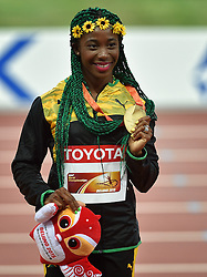 25-08-2015 CHN: IAAF World Championships Athletics day 4, Beijing<br /> Winner Shelly-Ann Frase-Pryce (JAM) celebrates after first place at 100 m Women. <br /> Photo by Ronald Hoogendoorn / Sportida