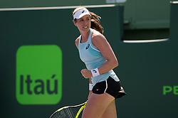 March 25, 2018 - Key Biscayne, FL, U.S. - KEY BISCAYNE, FL - MARCH 25: Johanna Konta in action here, plays during the Miami Open on March 25, 2018 at the Tennis Center at Crandon Park in Key Biscayne, FL. (Photo by Andrew Patron/Icon Sportswire) (Credit Image: © Andrew Patron/Icon SMI via ZUMA Press)