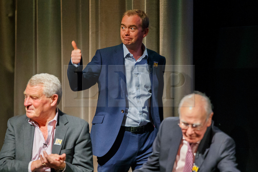 © Licensed to London News Pictures. 07/06/2016. London, UK. Current Liberal Democrat leader TIM FARRON joins former Liberal Democrat leaders MENZIES CAMPBELL and PADDY ASHDOWN at a Q&A session on EU referendum in central London on 7 June 2016. Photo credit: Tolga Akmen/LNP