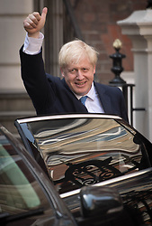 Newly elected leader of the Conservative party Boris Johnson leaves Conservative party HQ in Westminster, London, after it was announced that he had won the leadership ballot and will become the next Prime Minister.