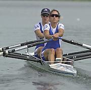 2002 FISA World Cup. Hazewinkel. BEL.       Friday  14/06/2002     .email images@Intersport-images.com.[Mandatory Credit: Peter Spurrier/Intersport Images]  .                                 /06/2002.Rowing. .GBR LW2X Tracy Langlands stroke and Helen Casey Rowing, FISA WC.Hazenwinkel, BEL