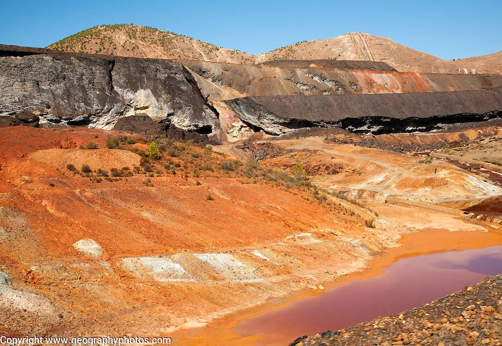 Lunar like despoiled landscape opencast mineral extraction Minas de Riotinto mining area, Huelva province, Spain