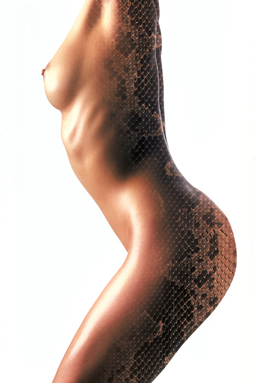 Profile of nude woman's torso with snake skin double exposed on back