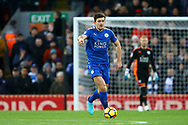 Harry Maguire of Leicester City in action. Premier League match, Liverpool v Leicester City at the Anfield stadium in Liverpool, Merseyside on Saturday 30th December 2017.<br /> pic by Chris Stading, Andrew Orchard sports photography.
