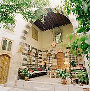 The garden terrace in the Al Mamlouka hotel in Damascus, Syria