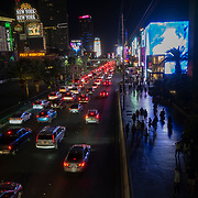 Heavy traffic is seen on Las Vegas Boulevard in Las Vegas, Nevada on Sunday, October 18, 2020. (Alex Menendez via AP)