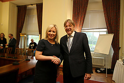 © Licensed to London News Pictures. 20/09/2017. Belfast, UK. leader of Sinn Fein Michelle O'Neill MLA meeting with Guy Verhofstadt at Stormont Parliament Buildings in Belfast, Northern Ireland. Photo credit: London News Pictures.