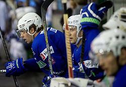 Anze Kopitar, Sabahudin Kovacevic during practice session of Slovenian National Ice Hockey Team prior to the IIHF World Championship in Ostrava (CZE), on April 21, 2015 in Hala Tivoli, Ljubljana, Slovenia. Photo by Vid Ponikvar / Sportida