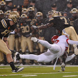 Oct 23, 2009; West Point, N.Y., USA; Rutgers linebacker Steve Beauharnais (42) makes a special teams tackle during Rutgers' 27 - 10 victory over Army at Michie Stadium.