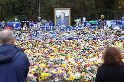A view of the relocated tributes, left for the victims of the Helicopter crash, at a new memorial site near the King Power Stadium, Leicester.