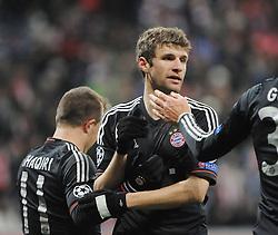 V.l.n.r.: Xherdan SHAQIRI (FC Bayern Muenchen), Thomas MUELLER (FC Bayern Muenchen) und Mario GOMEZ (FC Bayern Muenchen)..Bayern Muenchen vs. BATE Borisov, Champions League, Vorrunde, Spieltag 6, 05.12.2012..Nutzungshinweis: EIBNER-PRESSEFOTO Tel: 0172 837 4655............