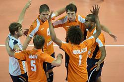 01-07-2012 VOLLEYBAL: EUROPEAN LEAGUE TURKIJE - NEDERLAND: ANKARA<br /> Nederland wint de European League 2012 door Turkije met 3-2 te verslaan / Gijs Jorna (#7 NED), Thijs Ter Horst (#4 NED), Thomas Koelewijn (#15 NED), Humphrey Krolis (#6 NED), Nimir Abdel-Aziz (#1 NED), Jelte Maan (#5 NED)<br /> ©2012-FotoHoogendoorn.nl/Conny Kurth