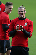 Gareth Bale of Wales in a relaxed mood demonstrates his fishing skills during the Wales football team training at the Cardiff city Stadium in Cardiff , South Wales on Friday 1st September 2017.  the team are preparing for their FIFA World Cup qualifier home to Austria tomorrow.  pic by Andrew Orchard, Andrew Orchard sports photography