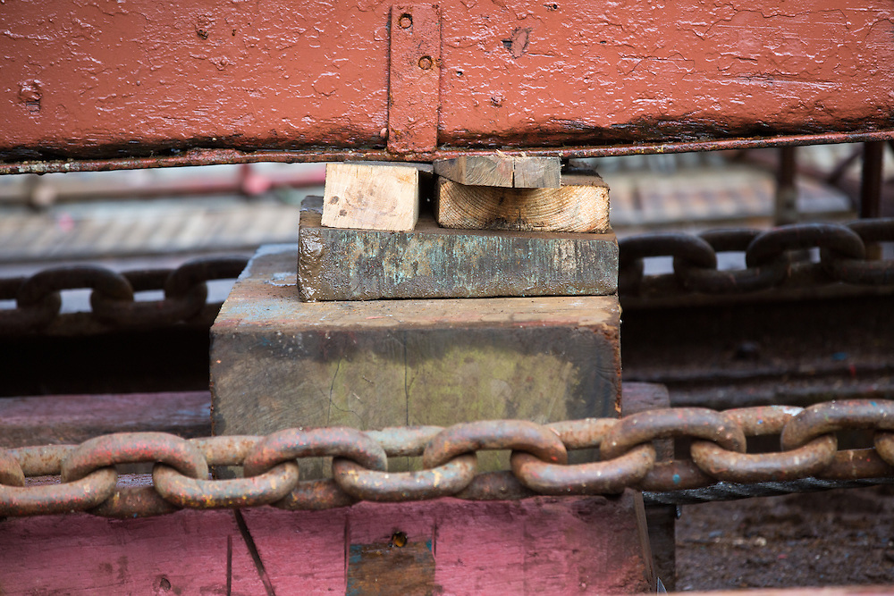 Mallaig Boatyard. Wedges secure the Ranger onto the cradle.  Picture Robert Perry 9th April 2016<br /> <br /> Must credit photo to Robert Perry<br /> FEE PAYABLE FOR REPRO USE<br /> FEE PAYABLE FOR ALL INTERNET USE<br /> www.robertperry.co.uk<br /> NB -This image is not to be distributed without the prior consent of the copyright holder.<br /> in using this image you agree to abide by terms and conditions as stated in this caption.<br /> All monies payable to Robert Perry<br /> <br /> (PLEASE DO NOT REMOVE THIS CAPTION)<br /> This image is intended for Editorial use (e.g. news). Any commercial or promotional use requires additional clearance. <br /> Copyright 2014 All rights protected.<br /> first use only<br /> contact details<br /> Robert Perry     <br /> 07702 631 477<br /> robertperryphotos@gmail.com<br /> no internet usage without prior consent.         <br /> Robert Perry reserves the right to pursue unauthorised use of this image . If you violate my intellectual property you may be liable for  damages, loss of income, and profits you derive from the use of this image.