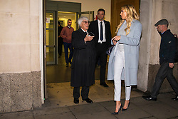© Licensed to London News Pictures. 11/01/2018. London, UK. Petra Ecclestone (R) speaks with her father Bernie Ecclestone (L) as they leave the High Court after a hearing over her legal battle with ex-husband James Stunt following their £5.5billion divorce. Photo credit: Rob Pinney/LNP