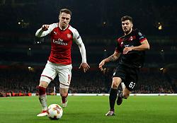 Aaron Ramsey of Arsenal takes on Patrick Cutrone of AC Milan - Mandatory by-line: Robbie Stephenson/JMP - 15/03/2018 - FOOTBALL - Emirates Stadium - London, England - Arsenal v AC Milan - UEFA Europa League Round of 16, Second leg