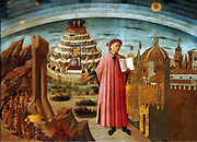 Domenico di Michelino, La Divina Commedia di Dante (Dante and the Divine Comedy). Fresco in the nave of the Duomo of Florence, Italy.Date 1465  By  Domenico di Michelino (Italian, 1417–1491)