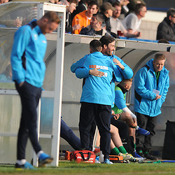 TELFORD COPYRIGHT MIKE SHERIDAN 30/3/2019 - Blyth's bench celebrates in front of a disappointed Gavin Cowan during the Vanarama National League North fixture between AFC Telford United and Blyth Spartans at the New Bucks Head.