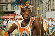 A Caribbean performer in the 2011 Pride Parade on New York's Fifth Avenue.