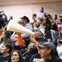 Chris Toledo cheers on his daughters team, the Gallup Lady Bengals during their matchup with the Miyamura Lady Patriots Wednesday night at Gallup High School.