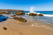 The beach and pier at Beechers Bay, Santa Rosa Island, Channel Islands National Park, California USA