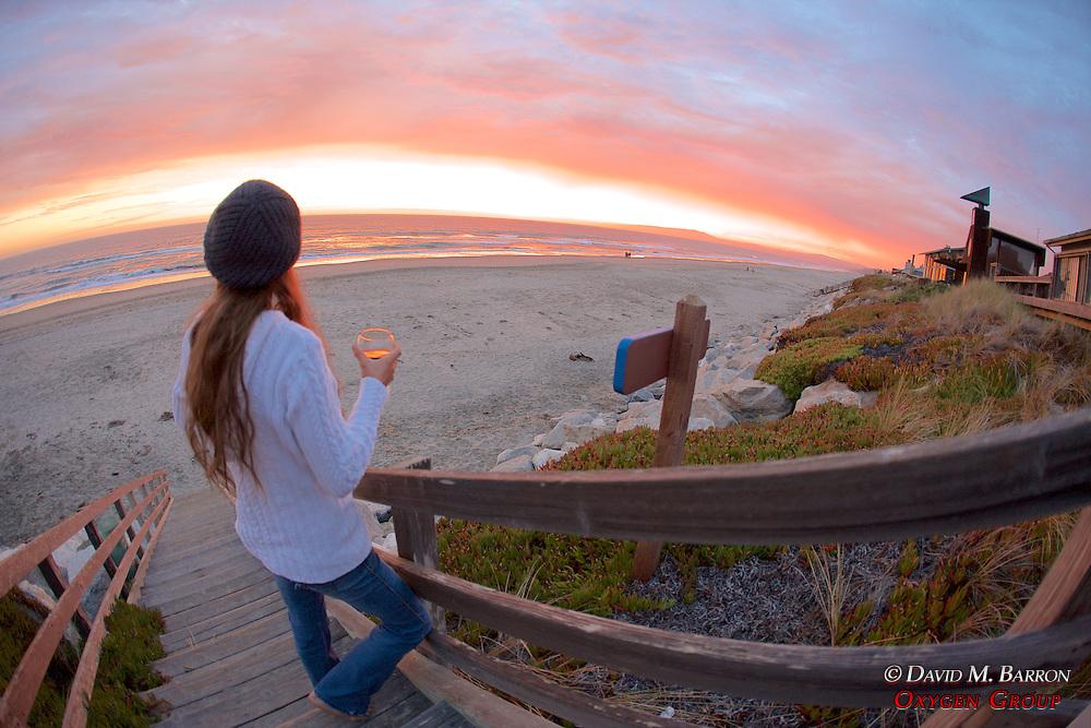 Katie Watching Sunset, Pajaro Dunes