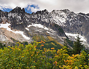 Hike to Cascade Pass in North Cascades National Park, Washington, USA. The Triplets are the sharp peaks on the left, and Cascade Peak is on the right.