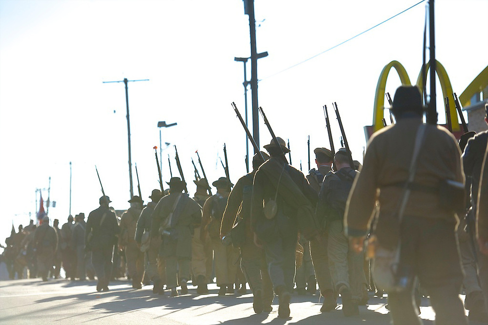 The Remembrance Day Parade, celebrating the 149th anniversary of the Gettysburg Address, culminated near a McDonald's restaurant in Gettysburg, PA on November 17, 2012.