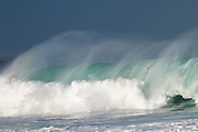 A wave breaks on the North Shore of Hawaii.