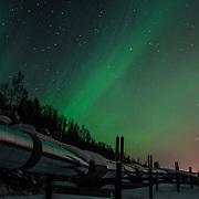 Aurora Borealis reflecting off the Alaska Pipeline.