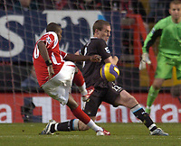 Photo: Olly Greenwood.<br />Charlton Athletic v Manchester City. The Barclays Premiership. 04/11/2006. Charlton's Darren Bent shoots past Manchester City's Richard Dunne