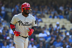 May 28, 2018 - Los Angeles, CA, U.S. - LOS ANGELES, CA - MAY 28: Philadelphia Phillies Center field Odubel Herrera (37) walks to first base during a MLB game between the Philadelphia Phillies and the Los Angeles Dodgers on Memorial Day, May 28, 2018 at Dodger Stadium in Los Angeles, CA. (Photo by Brian Rothmuller/Icon Sportswire) (Credit Image: © Brian Rothmuller/Icon SMI via ZUMA Press)
